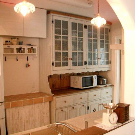 リトルパインのオーダー家具 ナチュラルガラスカップボード