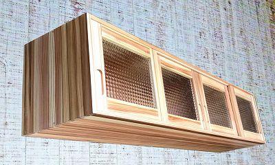 アクリル製チェッカーガラスの吊り戸棚